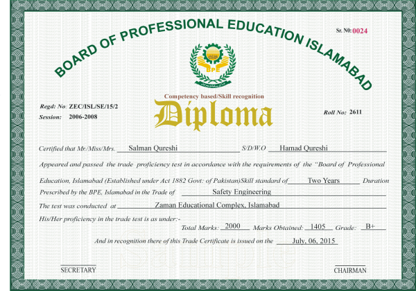 Board of professional education islamabad bpe civil lab technician civil draftsman civil architecture building construction engineering auto mechanic auto electrician building electrician yadclub Images